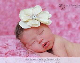 Newborn Headband, Magnolia Flower Headband, Ivory Flower Headband, Brown Headband, Flower Girl Headband, Baby Headband, Toddler Headband