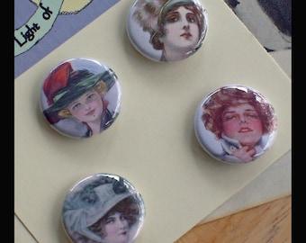 Victorian Ladies in Beautiful Hats 1 inch Button quartet