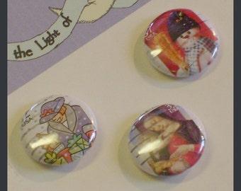 Christmas Images 1 inch Button trio Shopper, Madonna, Snowman