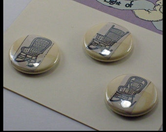 Wicker Rocking Chairs Vintage illustration 1inch Button or Magnet trio