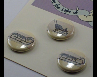 Victorian Sleds Vintage illustration 1inch Button trio