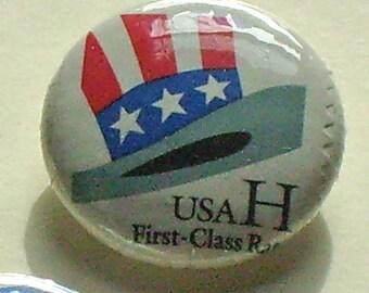 USA Patriotic Trio 1 inch Pinback Button Vintage US Postage Stamps