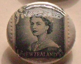 New Zealand Elizabeth II 1 inch Pinback Button quartet  Postage Stamps