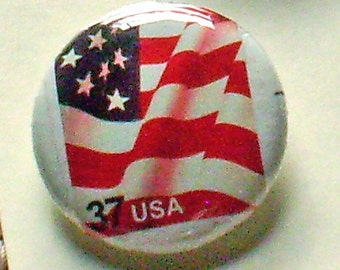 USA Patriotic Quartet 1 inch pinback Button Vintage US Postage Stamps
