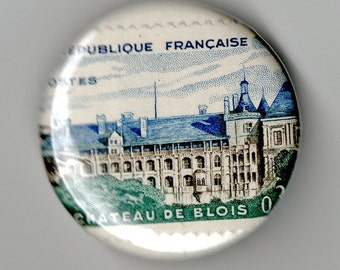 France Castles and Bridges 1.25 inch Button Trio Vintage Postage Stamp