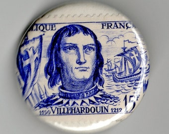 France Bichat - Villehardouin - dAngers 1.25 inch Button Trio Vintage Postage Stamp
