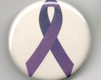Purple Awareness Ribbon   1.25 inch Button/Pin/Badge