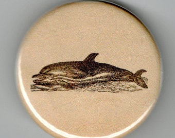 Dolphin 1.25 inch BUTTON Vintage Image