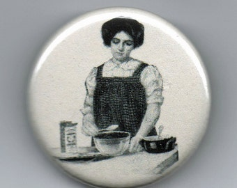 Lovely Ladies Baking and Ironing  Domestic Arts 1.25 inch BUTTON/PIN/BADGE Vintage Image