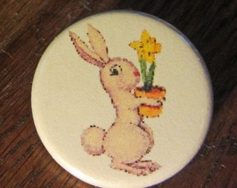 Pink Bunny with Daffodil Easter Greetings 1.25 inch Button