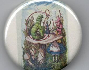Alice meets Caterpillar 1.25 inch BUTTON/PIN/BADGE Vintage Tenniel Image