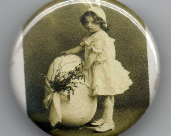Easter Greeting Girl with Giant Egg 1.25 inch Button Vintage Postcard Image