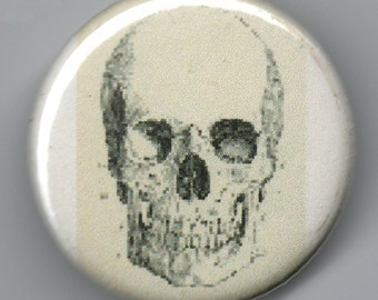 Human Skull 1.25 inch BUTTON Vintage Image