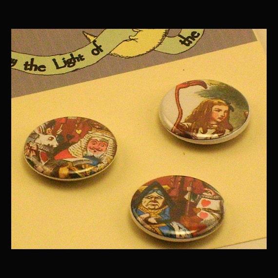 Alice in Wonderland, 1 inch Button  set trio, Vintage Tenniel illustration