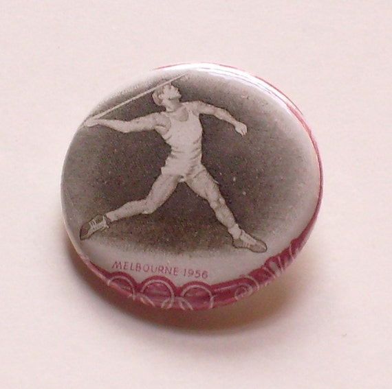 Poland Javelin thrower 1956 Olympics 1.25 Button Vintage Postage Stamp