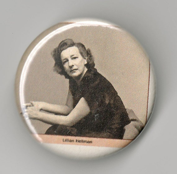 Lillian Hellman Playwright Portrait 1.25 inch Pinback Button duet