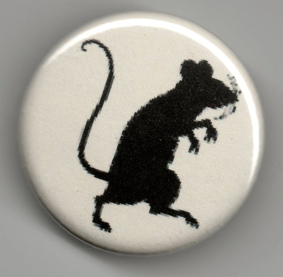 Mouse Rat fanciful Silhouette  1.25 inch Pinback Button