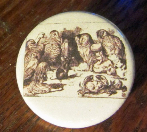 Caucus Race Alice in Wonderland 1.25 inch BUTTON/PIN/BADGE Vintage Tenniel Image