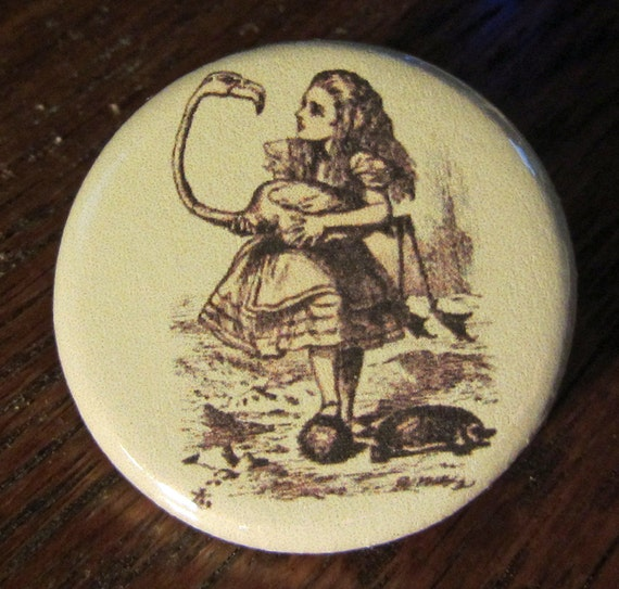 Alice and Flamingo Croquet Alice in Wonderland 1.25 inch BUTTON/PIN/BADGE Vintage Tenniel Image