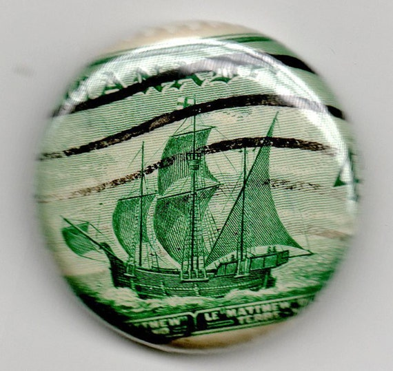Canada John Cabot Ship 1inch Button  Vintage Postage Stamp 1949