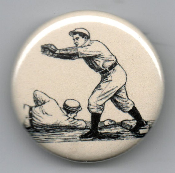 Classic Baseball 1.25 inch Pinback Button Vintage Illustration