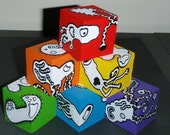 Hand Painted Wooden Blocks Colors of the Rainbow made by Keep Up the Imagination