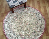 Crocheted Shabby Chic Rag Rug - Pastel Cream,Green,Pink and Yellow Oval