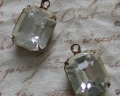 2 DOLLAR SALE - Very Vintage Clear Machine Cut Glass Jewel Octagon Charms - Antiqued Brass Settings - 12x10mm