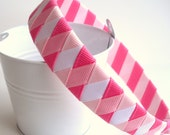 Ribbon Woven Headband  Hot Pink White Pink Baby Pink