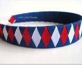 Boutique ribbon woven headband red white blue