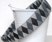 Grey  Woven Headband:  one inch wide headband made from light grey grey and black grosgrain ribbon