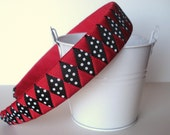 Polka Dot Headband: hand woven from grosgrain ribbon black white dots and red one inch wide