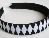 Classic Headband Woven:  black and white boutique style one inch wide