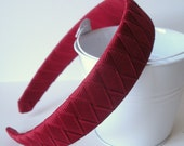 "Woven Headband:  mtmg 1"" wide headband woven with cranberry grosgrain ribbon"