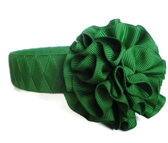 Green Woven Headband:  made from emerald ribbon with attached hand sewn flower