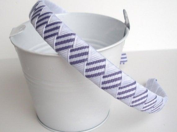 Striped Woven Headband:  striped white dark lilac half inch wide band