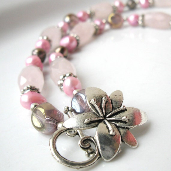 Urban Rock Choker with Rose Quartz and Pink Freshwater Pearls