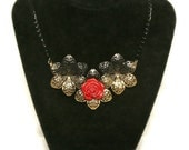 Urban Garden Floral Necklace in Red and Gold