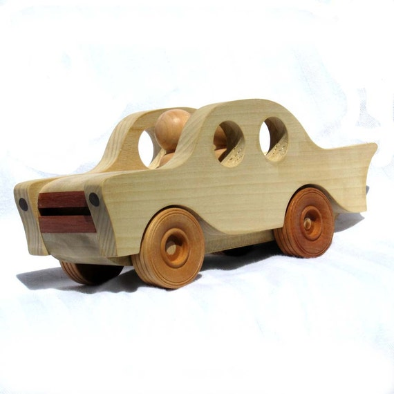 Wood Toy Car with Figures