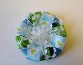 Blue and Green Bird Stacked Ribbon Flower Hair Bow