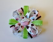 Pink and Green Cupcake Stacked Ribbon Flower Hair Bow