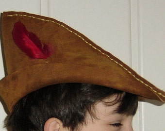 SALE: Caramel Suede Robin Hood / Peter Pan Toddler Hat