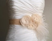 Wedding Sash Belt MADISON - Vintage Ivory Flowers on Champagne with Ostrich feathers