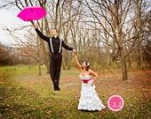 Fuchsia Pink and Orange Bridal Sash, Peacock Sash, Wedding Sash, Wedding Accessories - Baylee