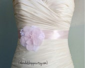 Ready to Ship - Petite Josie With Lace - Wedding Sash Blush Pink and Ivory Lace Bridal Sash  - Ivory and pink flower on Soft Pink Satin