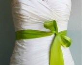 "Green Bridal Sash, Green Bridal Belt, Green Wedding,  Lemongrass - 1.5"" Inch Green Simple Satin Bridal Sash"