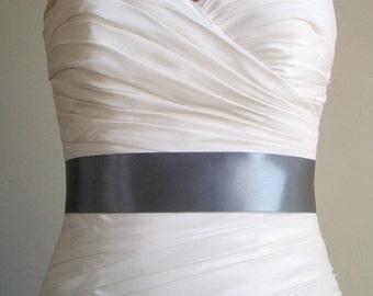 Limited Edition Color - SLATE - 2 Inch Simple Satin Bridal Sash
