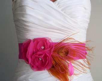 Fuchsia Pink and Orange Bridal Sash, Peacock Sash, Wedding Sash, Wedding Accessories - Baylee