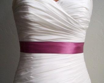 MULBERRY - 1.5 Inch Simple Satin Bridal Sash