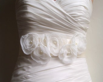 "Wedding Sash Bridal Belt PEARL - Light Ivory on Ivory Bridal Sash 2.25"" width"